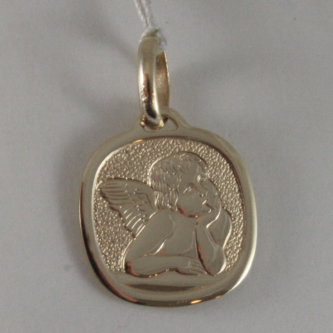 SOLID 9K YELLOW GOLD ANGEL PENDANT, SQUARE ANGEL MEDAL, MADE IN ITALY, 9KT