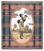 50x60 Vintage Gentlemen's GOLF Classic Sports Tapestry Throw Afghan Blanket - $42.50