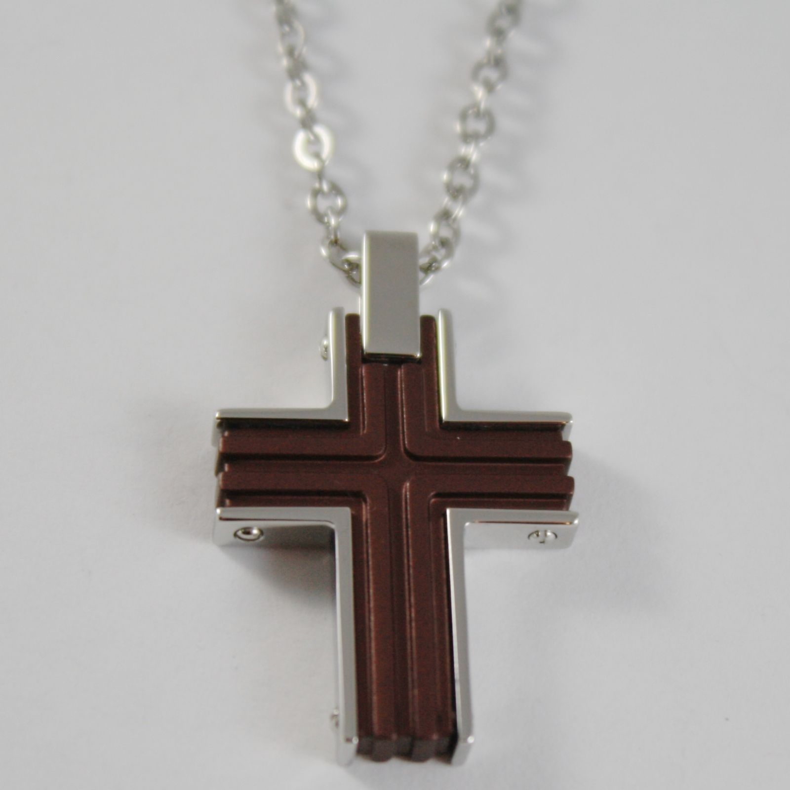 STAINLESS STEEL CROSS PENDANT, BROWN WITH ROLO CHAIN, NECKLACE BY ZANCAN