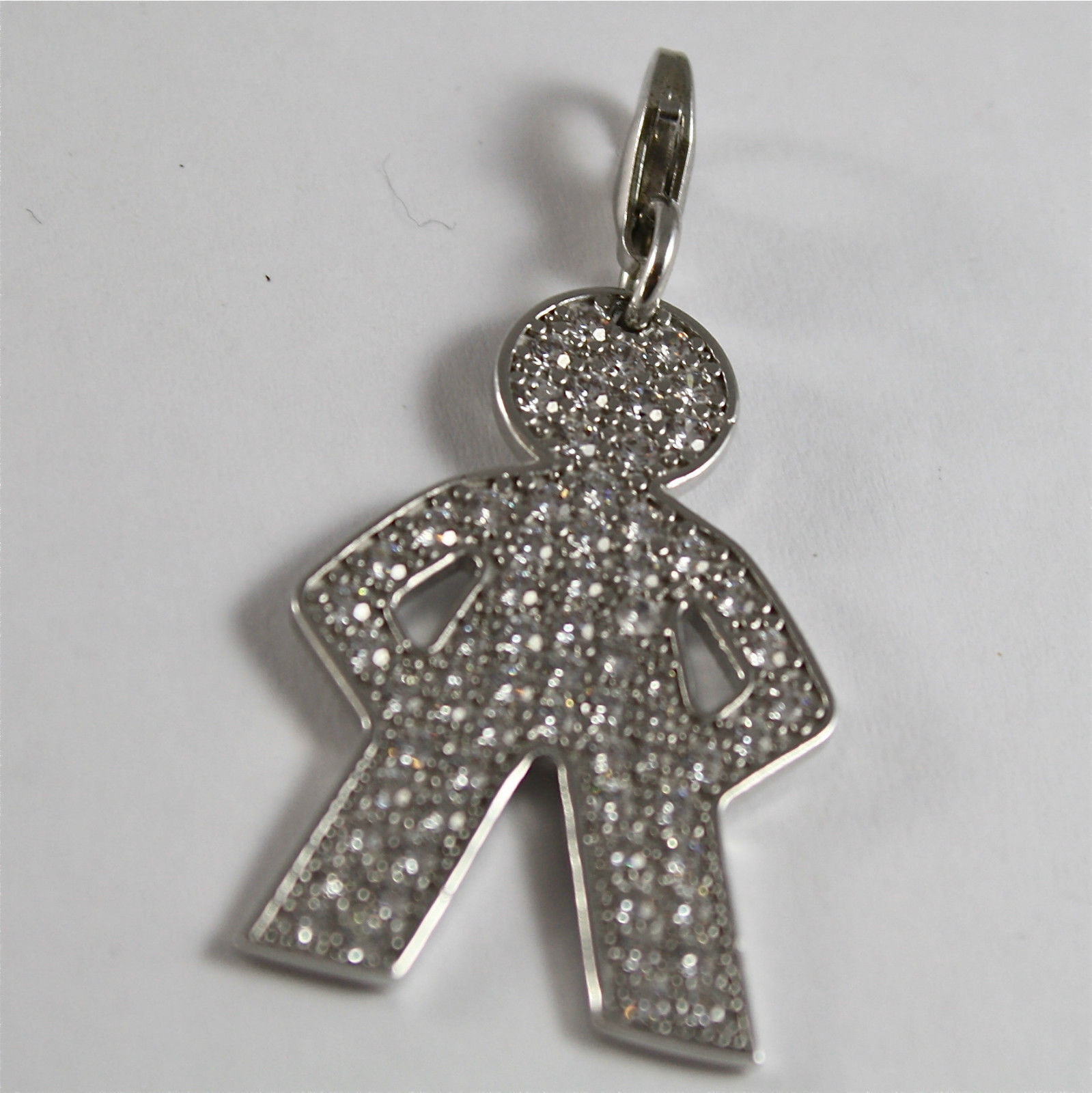 925 SILVER, AQUAFORTE PENDANT, RHODIUM TREATMENT, BABY SHAPED, FACETED ZIRCONIA.