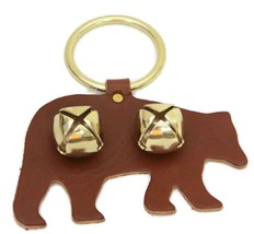 BROWN BEAR DOOR CHIME - LEATHER with JINGLE BELLS - Amish Handmade in th... - $19.77