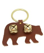 BROWN BEAR DOOR CHIME - LEATHER with JINGLE BELLS - Amish Handmade in th... - $19.57