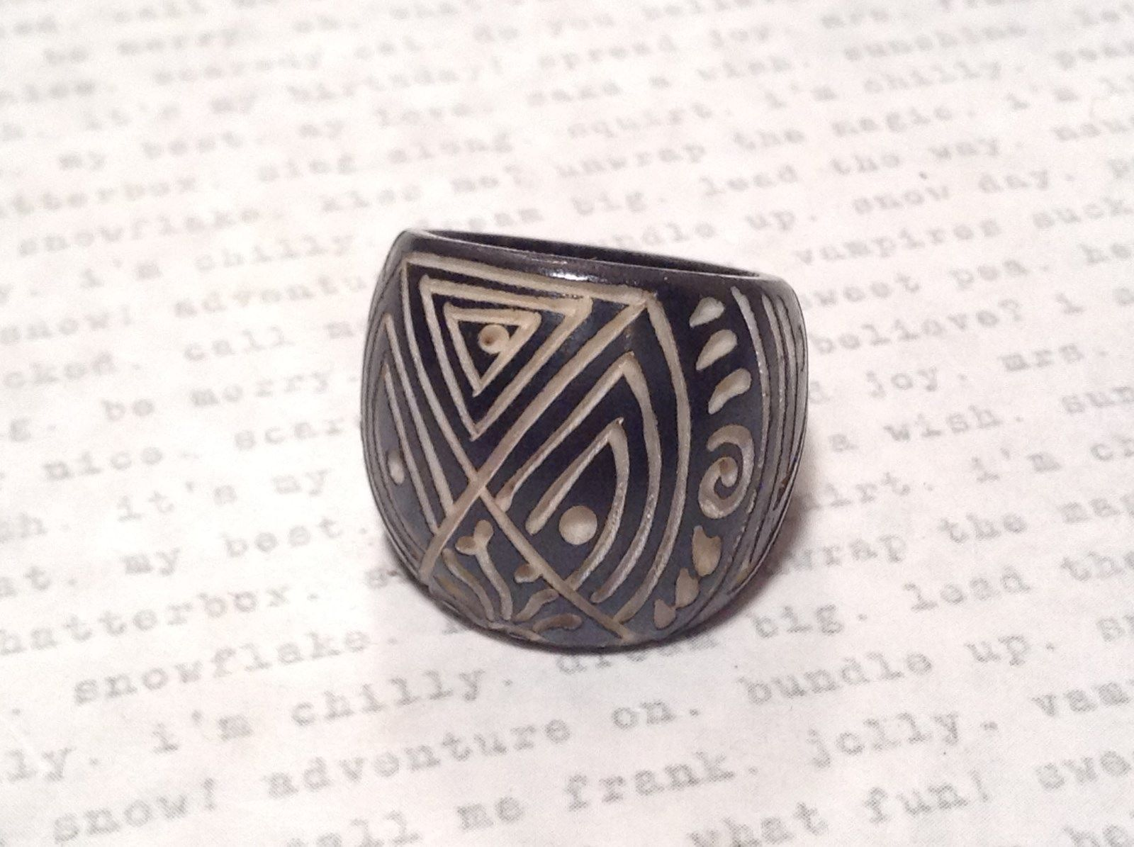 Hand Carved Black Wooden Tribal Pattern Ring Size 5.5 or 7.5