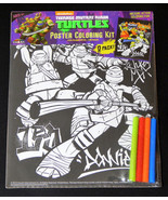 Teenage Mutant Ninja Turtles Coloring Poster With Markers Kids Art Craft - $7.00
