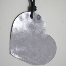 Necklace .925 Rhodium Silver Pendant Heart Hammered Satin By Nanis Made In Italy - $83.60