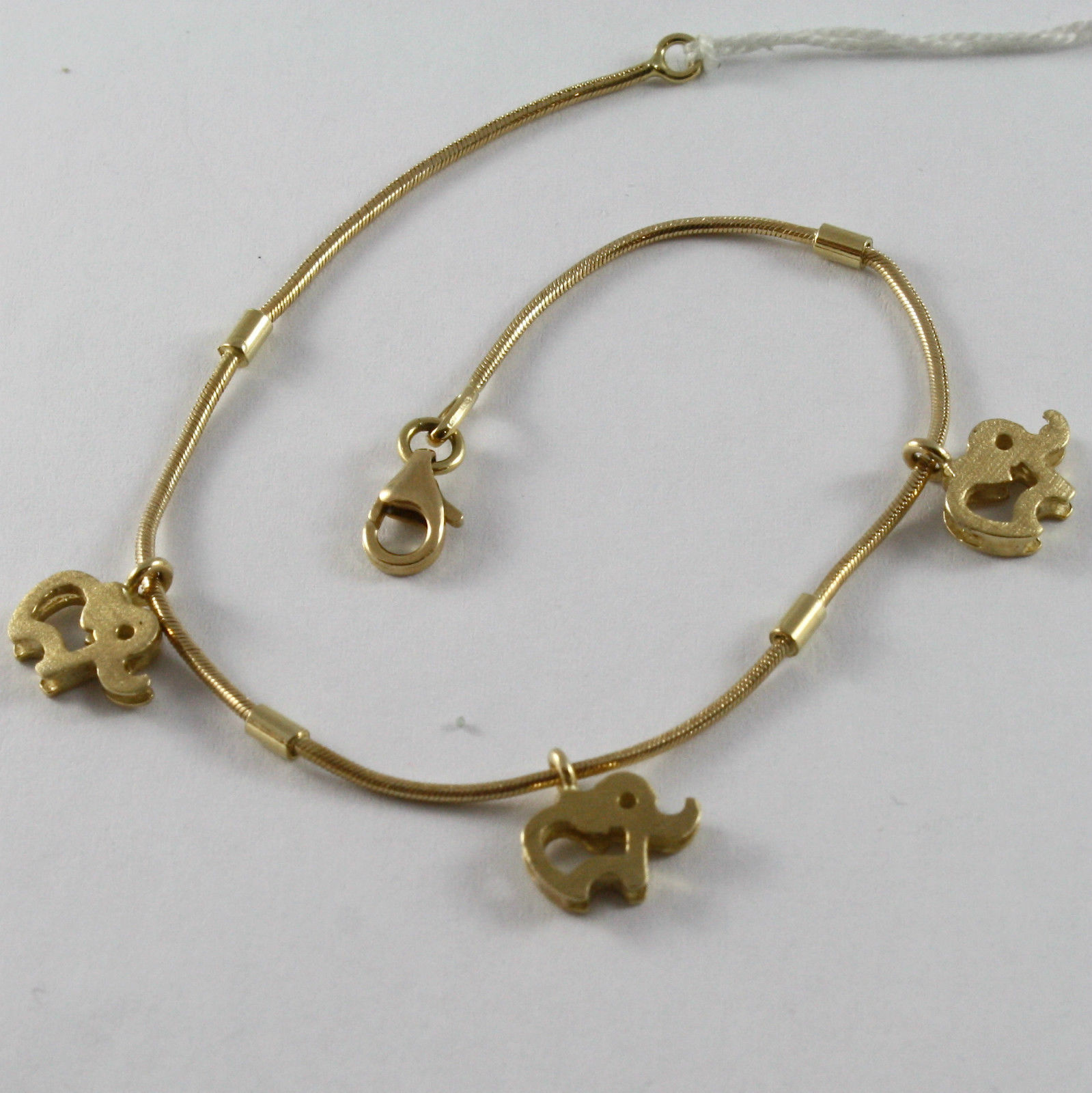 SOLID 18K YELLOW GOLD BRACELET WITH ELEPHANT PENDANT, ELEPHANTS, MADE IN ITALY