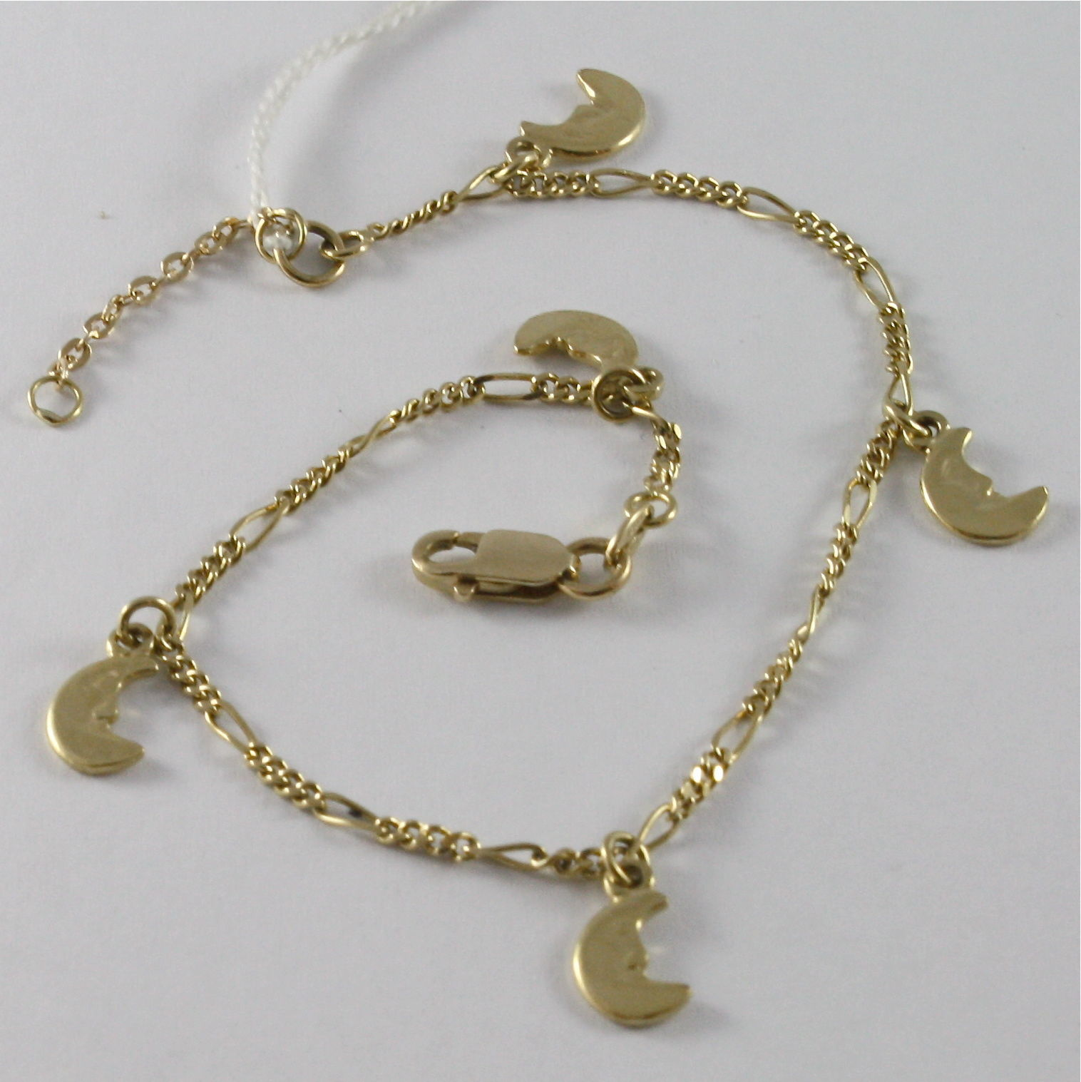 SOLID 18K YELLOW GOLD BRACELET WITH MOON PENDANT, HALF MOON, MADE IN ITALY