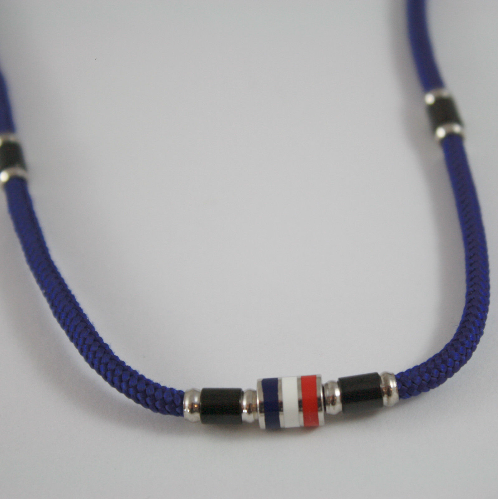 925 SILVER NECKLACE NAUTICAL BLUE ROPE WITH GLAZED FLAG BY ZANCAN MADE IN ITALY