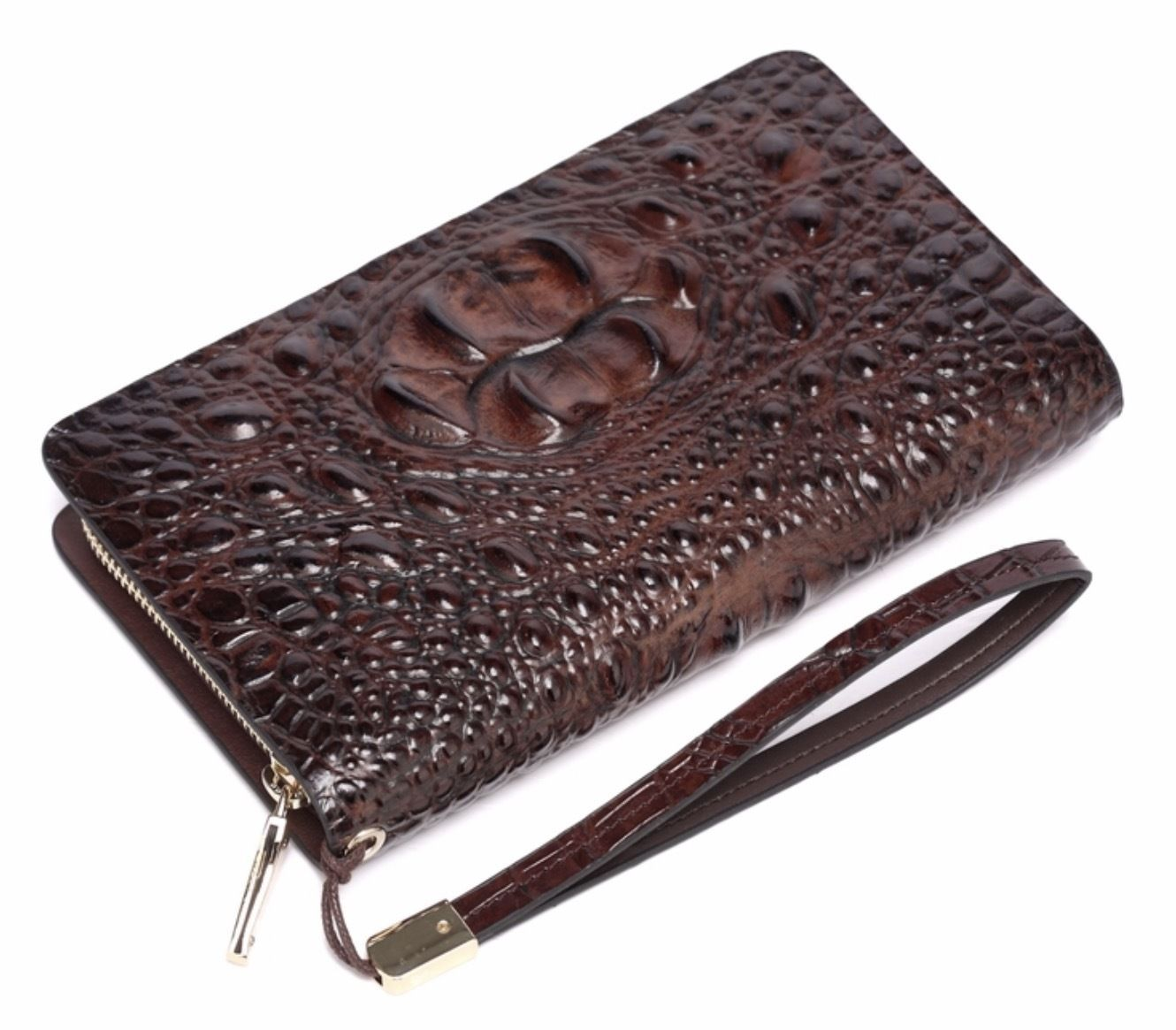 New Crocodile Embossed Italian Leather Clutch Wristlet Wallet Coffee Brown