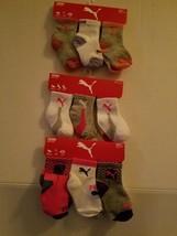 Puma 3 Pack Toddler Girl Qtr Crew Socks Size 0-12 M 2-4T M NWT - $11.19