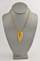 "ART DECO ERA Jewelry BUTTERSCOTCH BAKELITE & BRASS PENDANT NECKLACE - 16"" - $45.00"