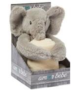 Amor Bebè Baby Blanket/Lovey Set Elephant Cream Plush 2 Pc Gift Set NEW - $20.57