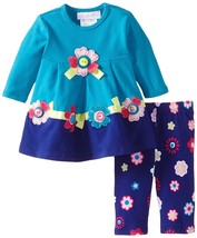 Baby Girl 3M-24M Button Flower Applique Colorblock Dress/Legging Set BONNIE JEAN