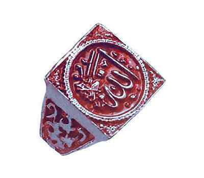 Red Allah Islamic Muslim Silver .925 Arabic Ring Islam