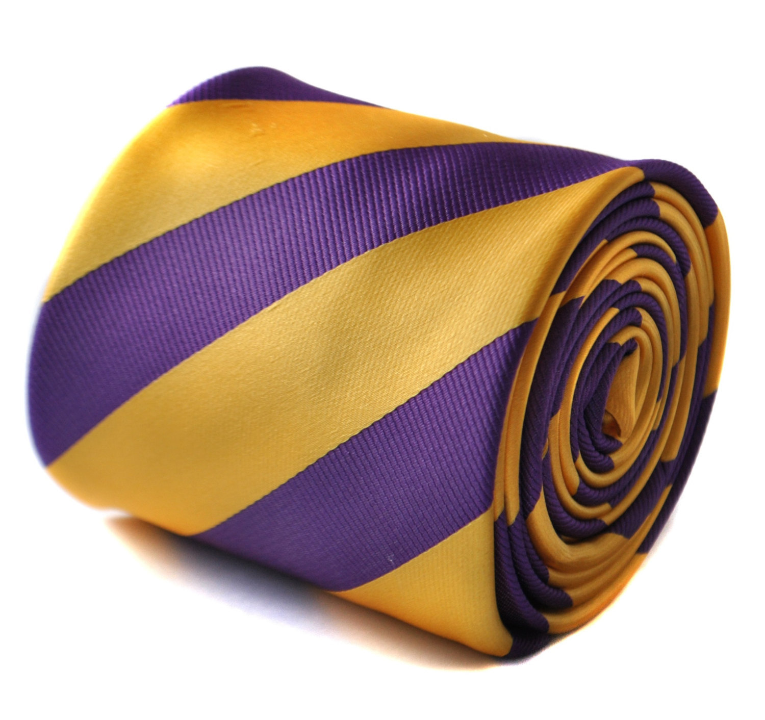 cadbury purple and yellow barber striped tie with signature floral design to the