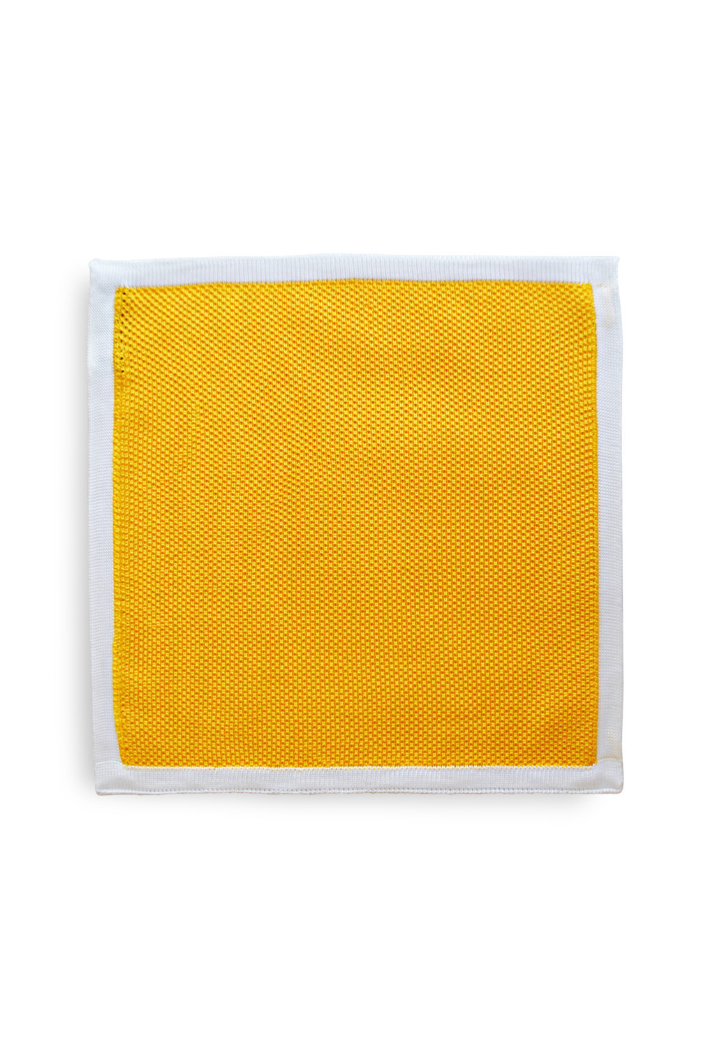 Frederick Thomas knitted Yellow pocket square with White Edging FT3180