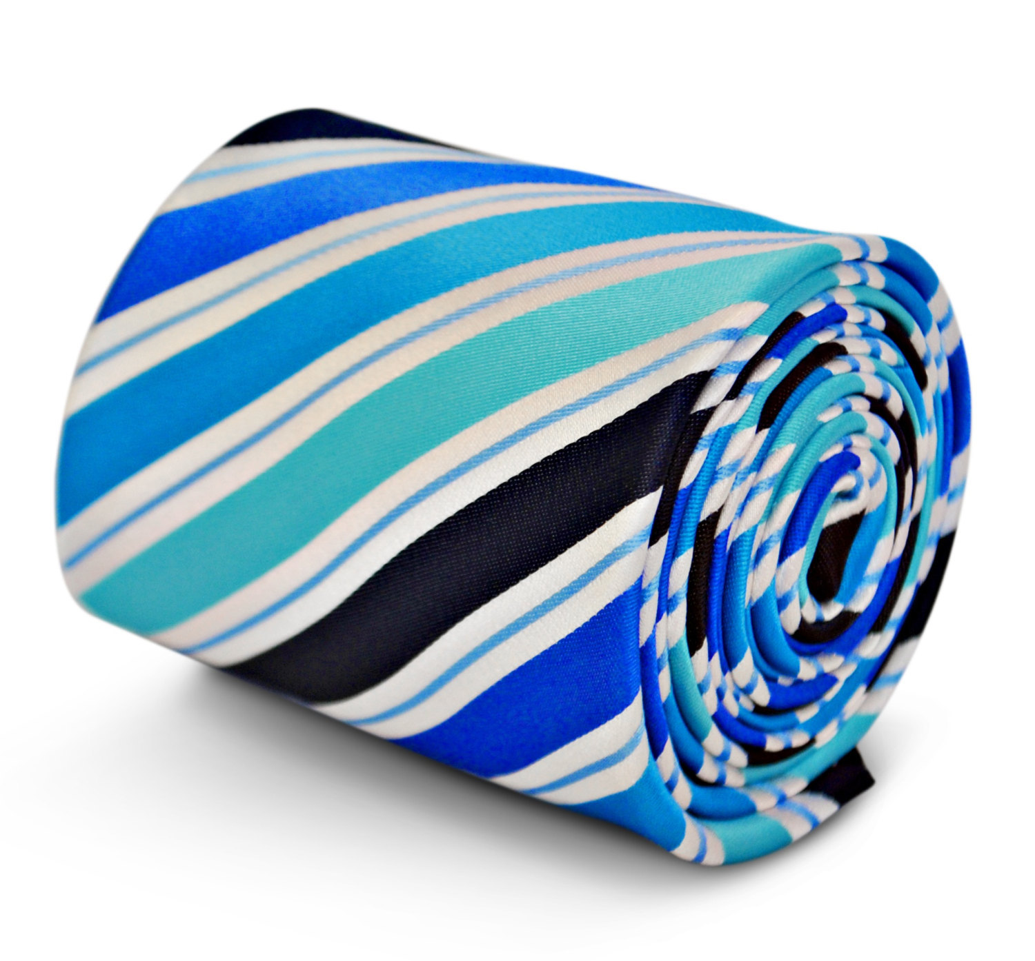 blue, white & black striped tie with signature floral design to the rear by Fred