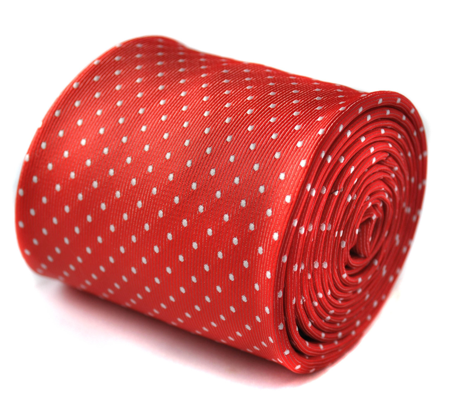 red and white pin spot tie with signature floral design to the rear by Frederick