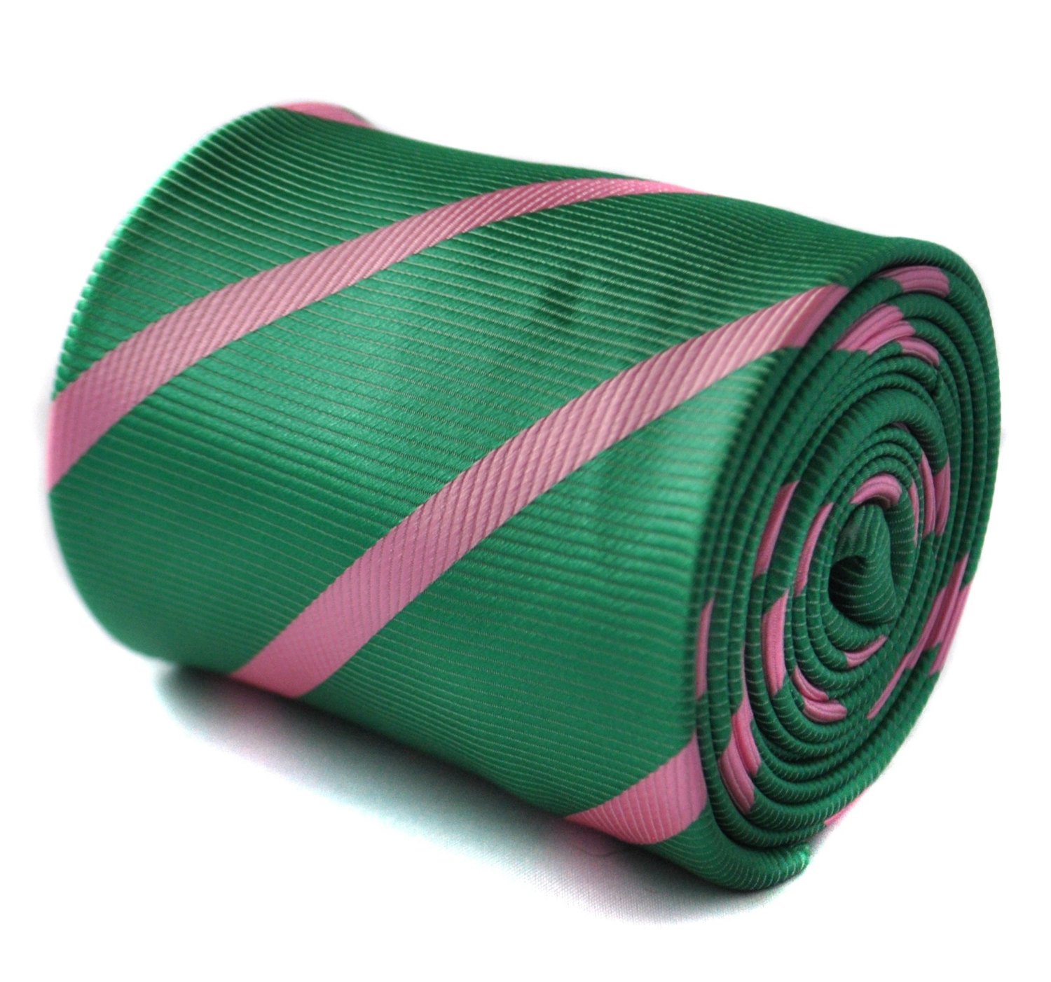 dark green with pink stripe tie with floral design to the rear by Frederick Thom