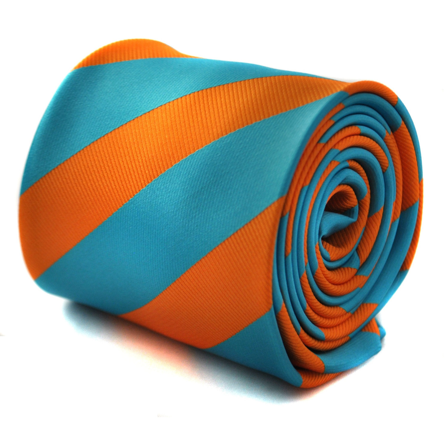 Turquoise and orange barber striped tie with signature floral design to the rear