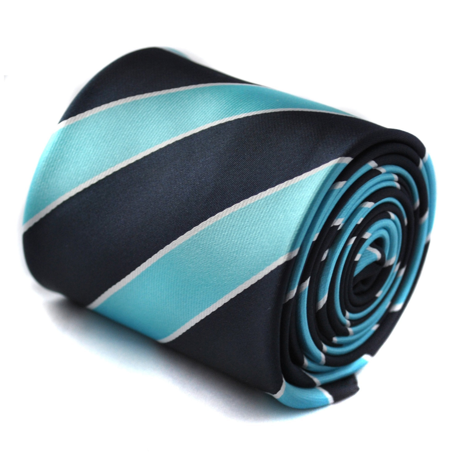navy and turquoise barber striped tie with signature floral design to rear by Fr