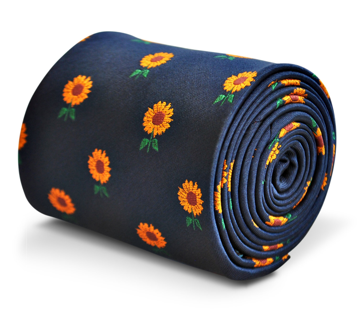 navy blue tie with sunflower design with signature floral design to the rear by