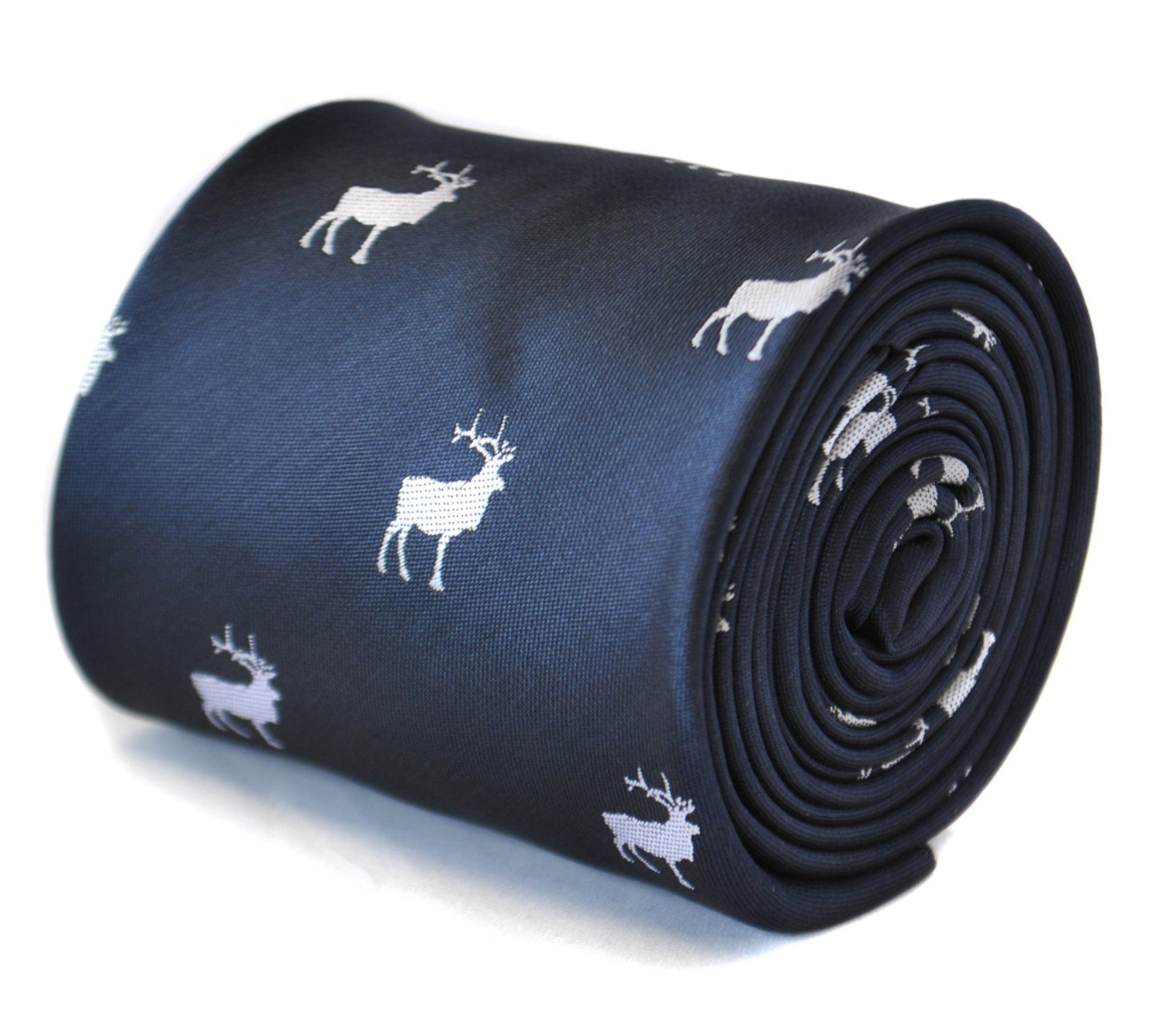 navy blue tie with stag deer embroidered design with signature floral design to