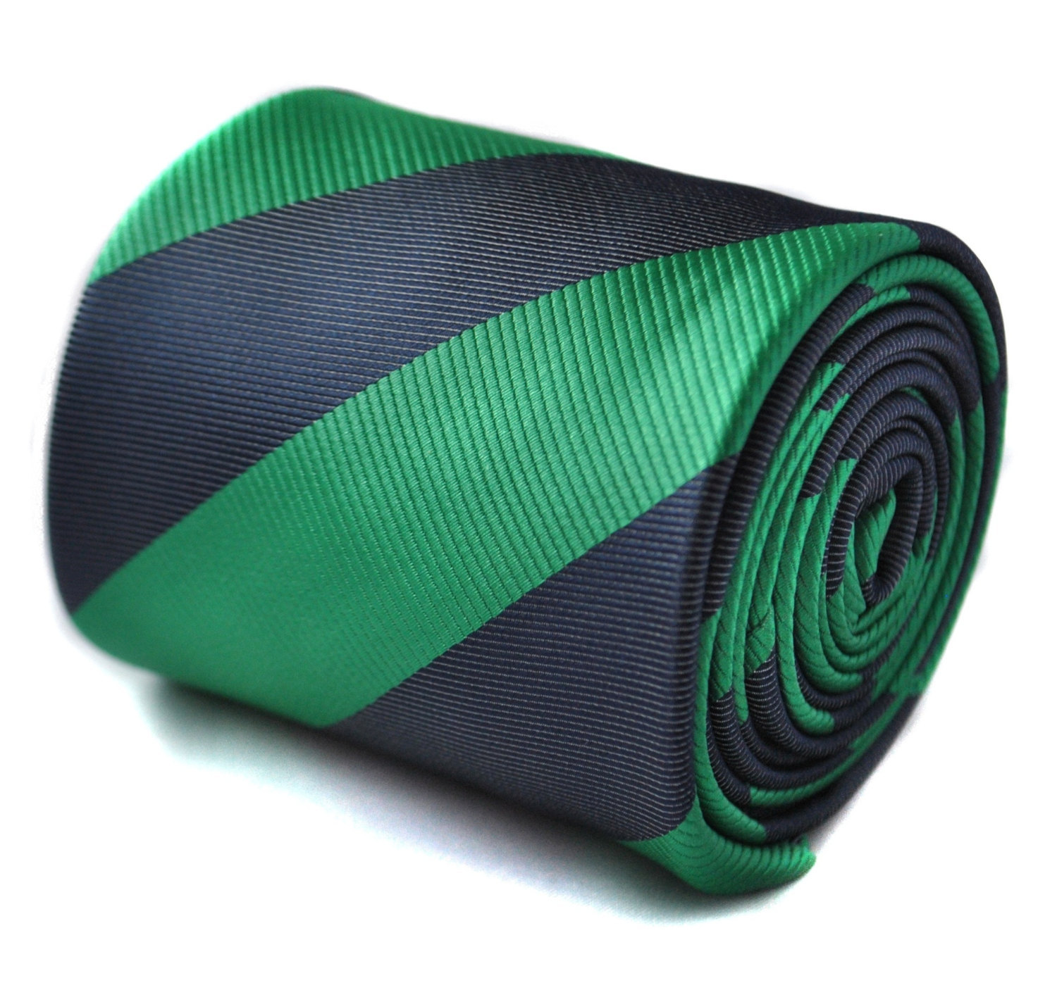 dark green and navy blue barber striped tie with floral design to the rear by Fr