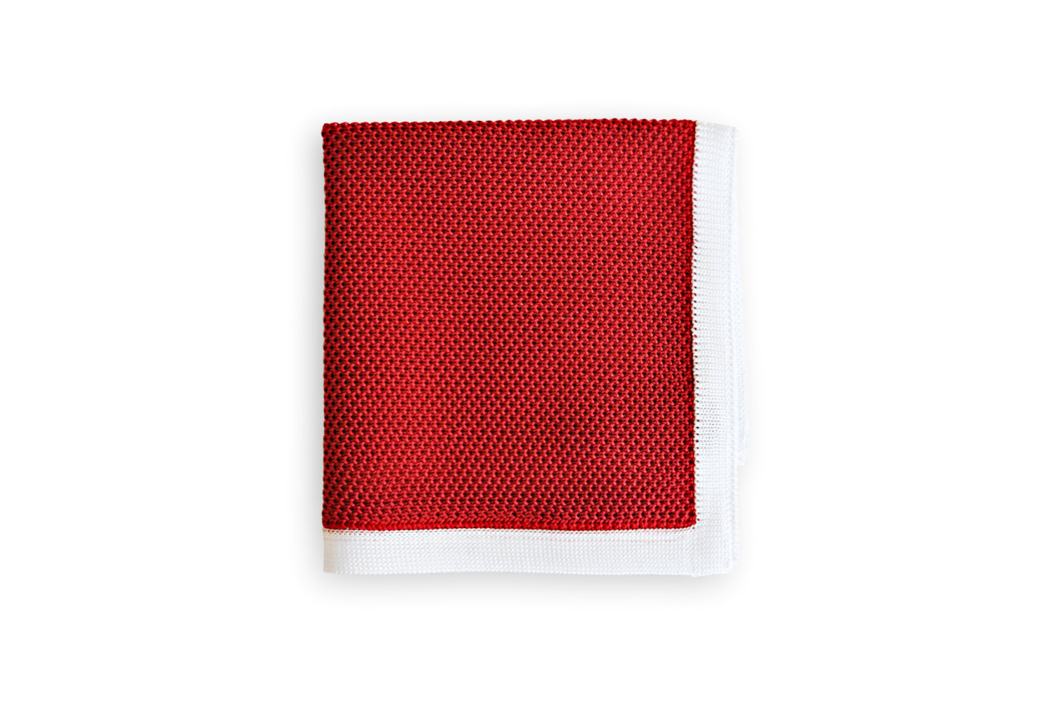 Frederick Thomas knitted Red pocket square with White Edging FT3174