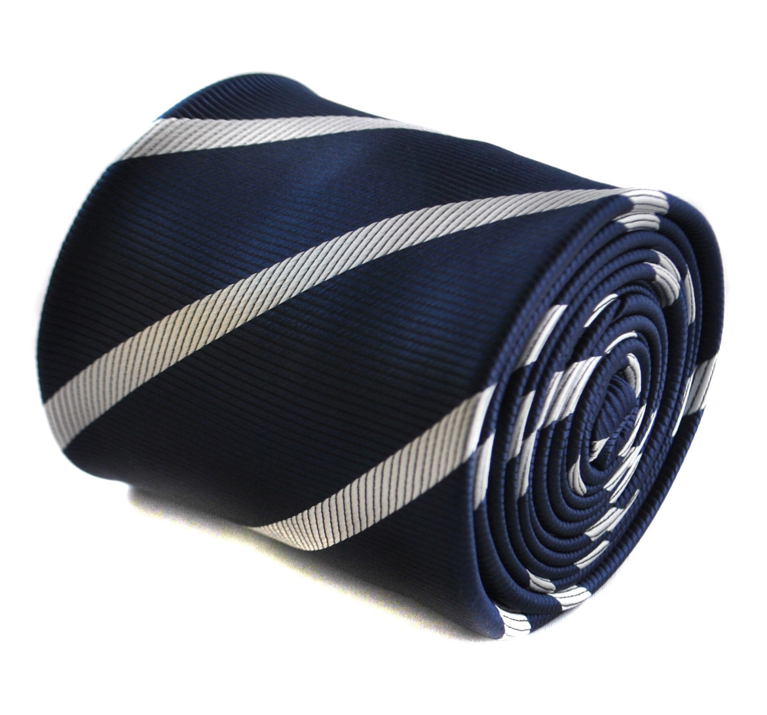 navy and white club striped tie with floral design to the rear by Frederick Thom