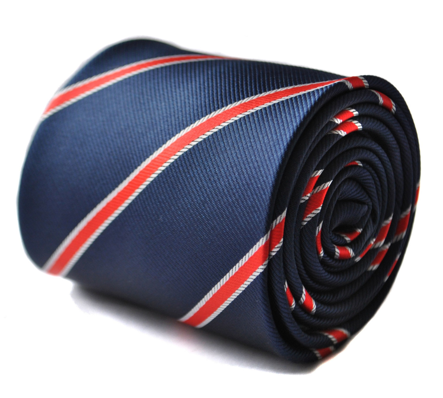 Navy with red striped tie with signature floral design to rear by Frederick Thom