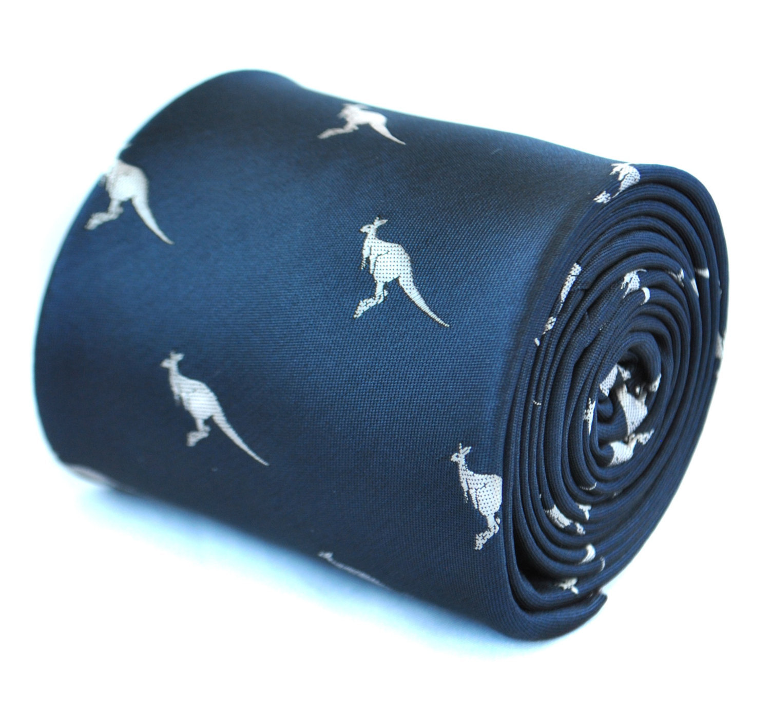 navy blue tie with kangaroo design with signature floral design to rear by Frede