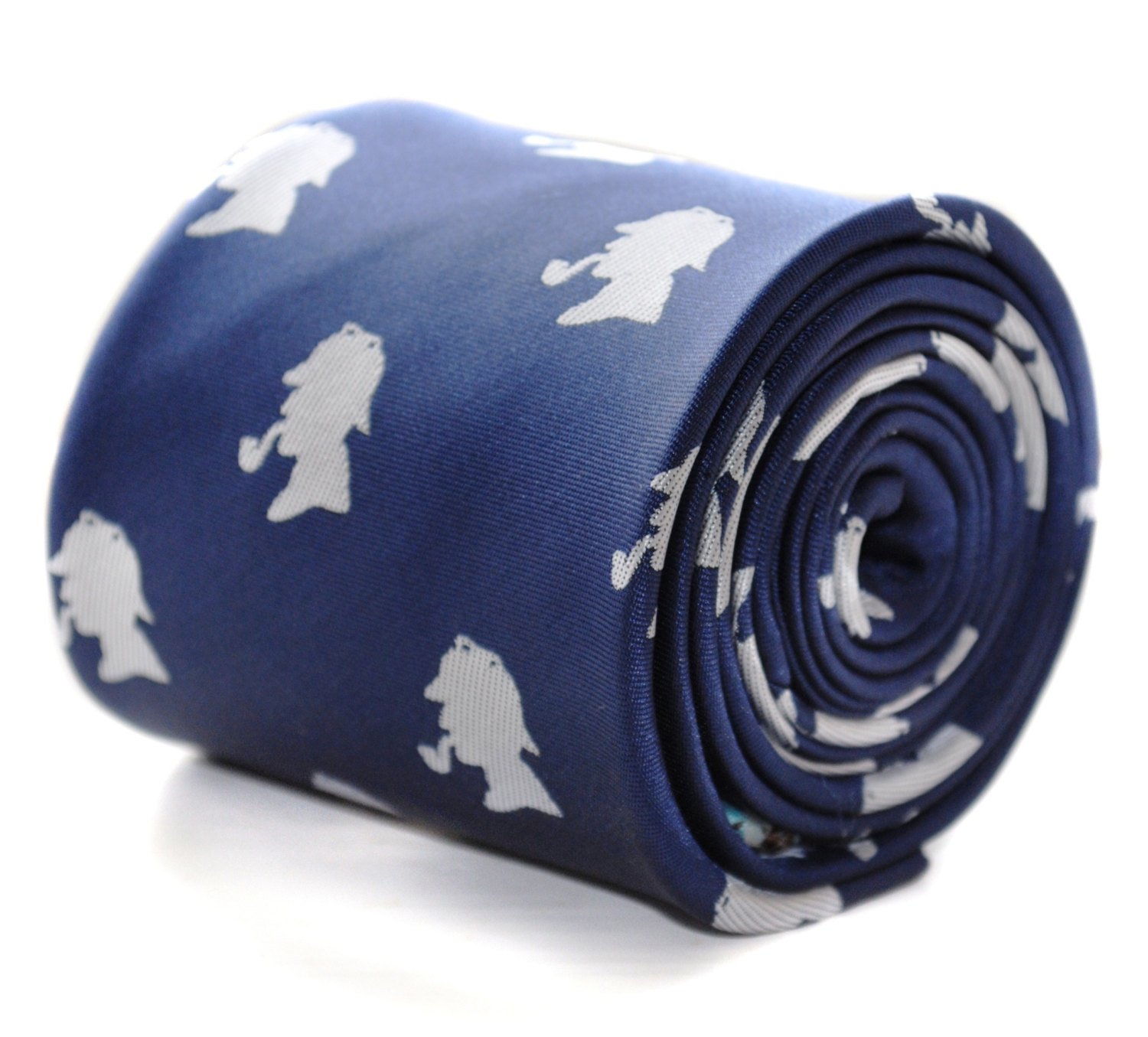 navy tie with sherlock holmes design and signature floral design to rear by Fred