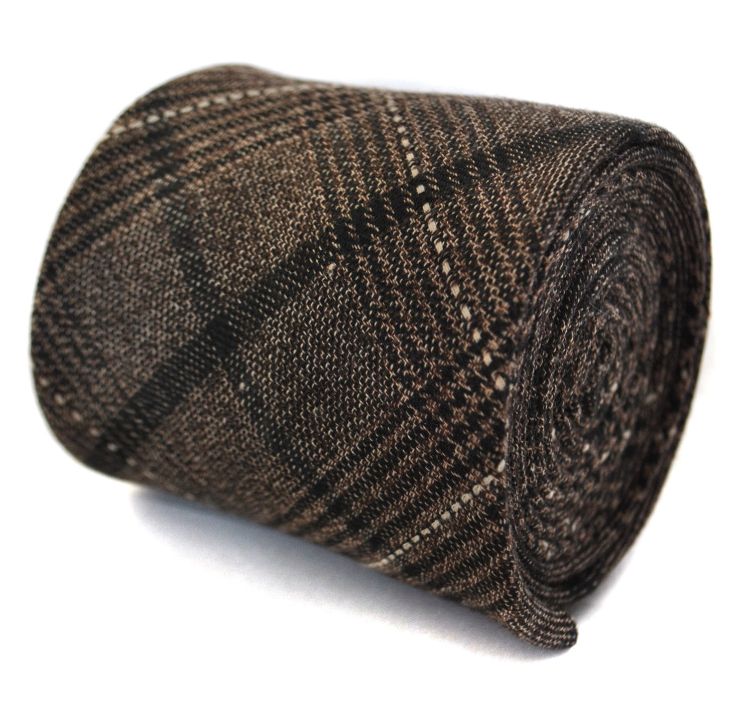 chestnut brown checked tweed wool tie by Frederick Thomas FT2044