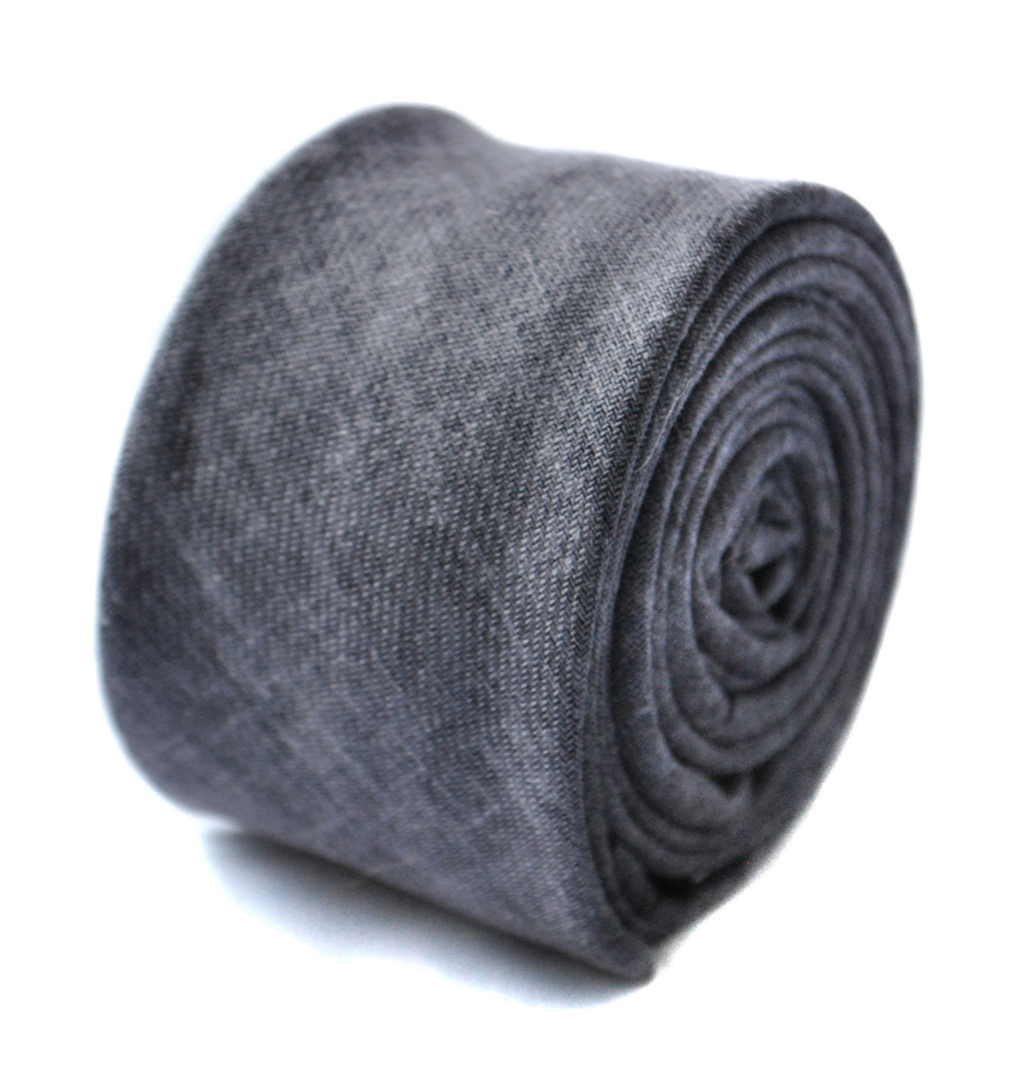 grey textured skinny linen tie by Frederick Thomas FT1635