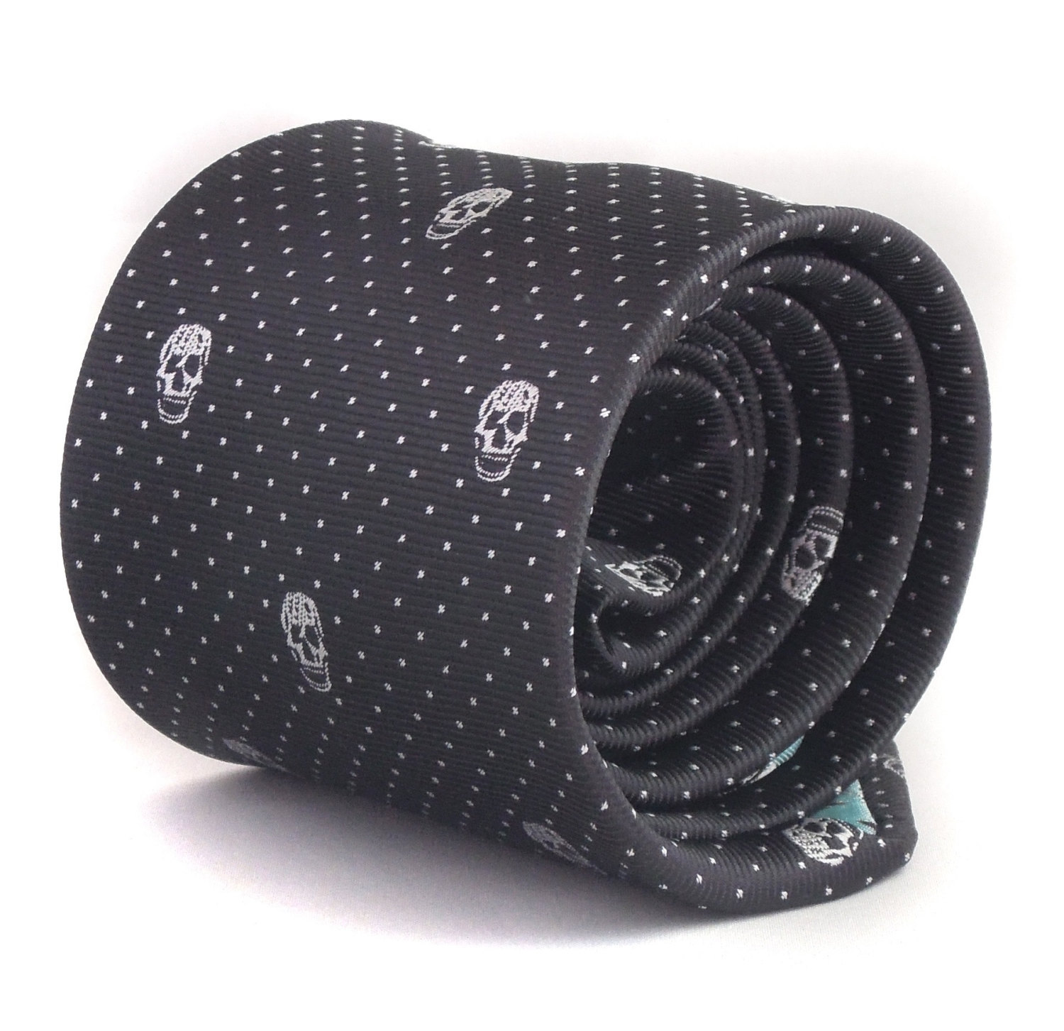 black skulls design tie with signature floral design to rear by Frederick Thomas