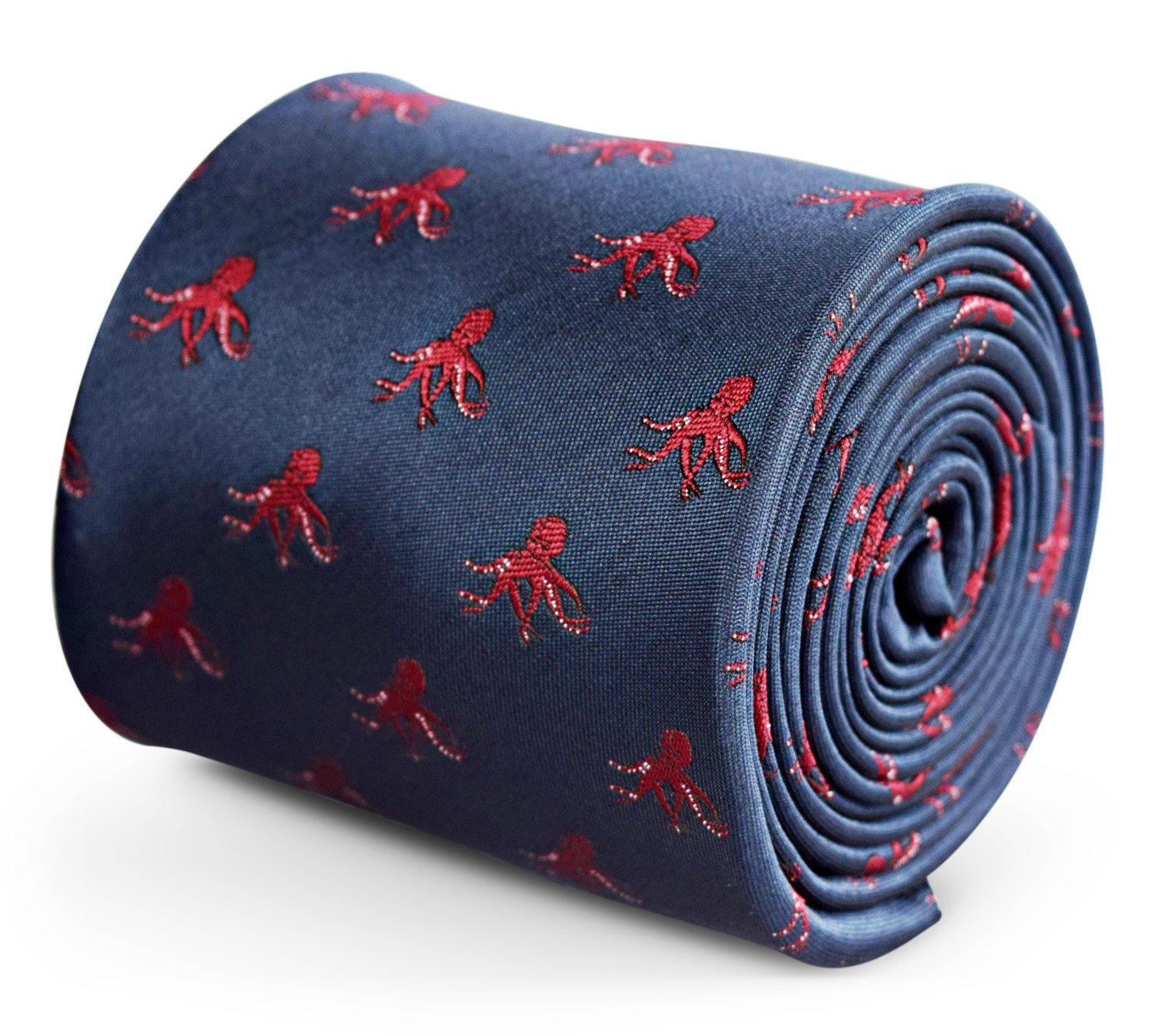 navy tie with octopus embroidered design with signature floral design to the rea