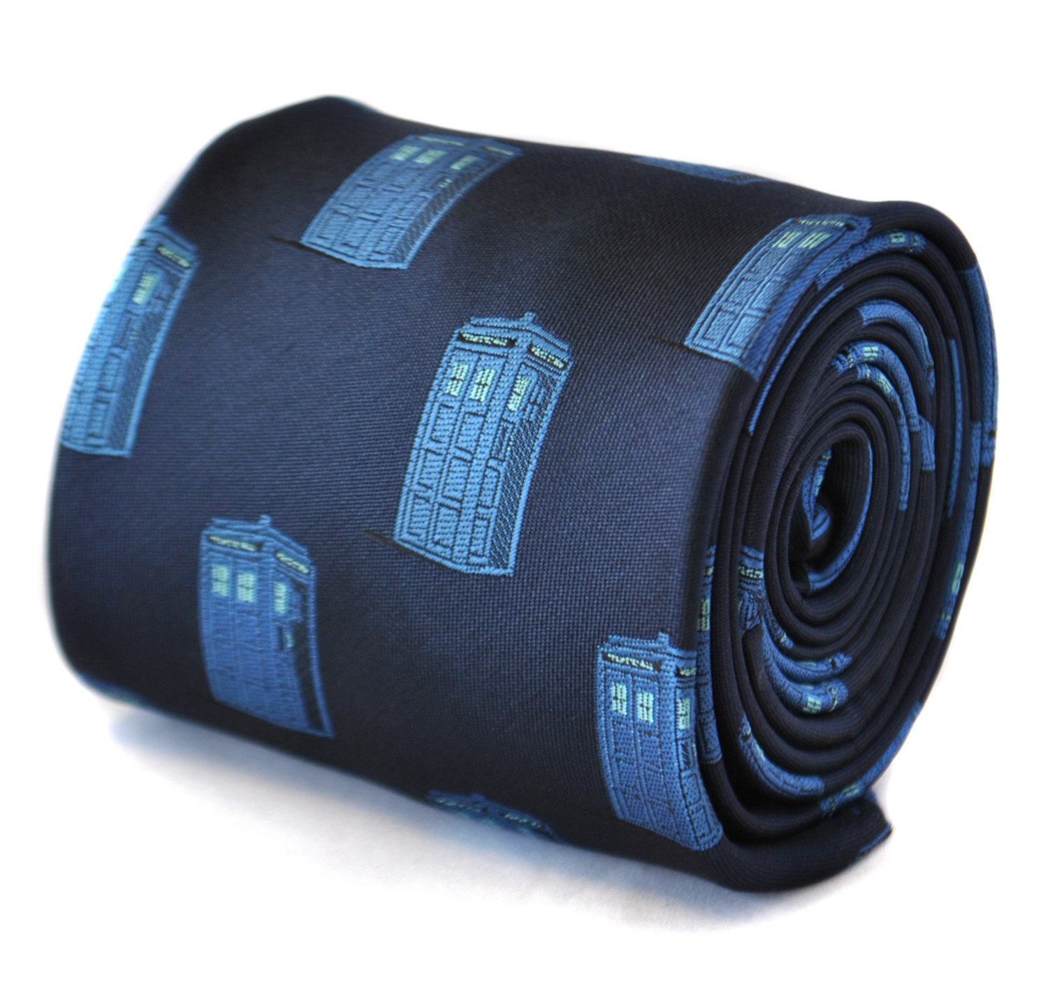 navy blue tie with blue policeman tardis box embroidered design with signature f