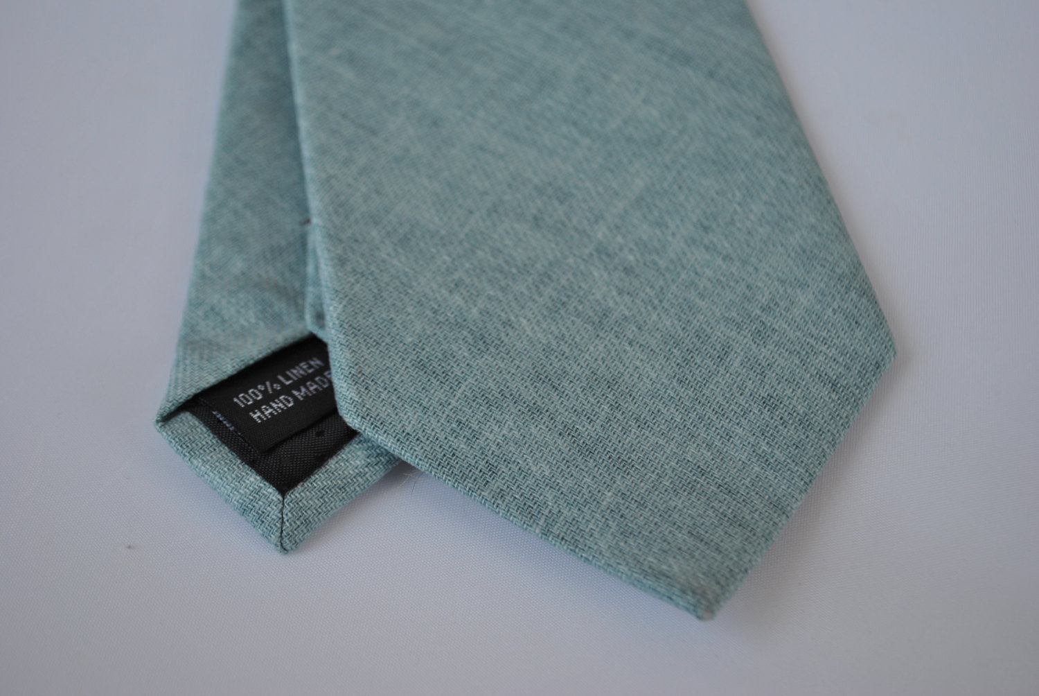 Plain Sage Pale Green Textured Linen Tie Or Pocket Square