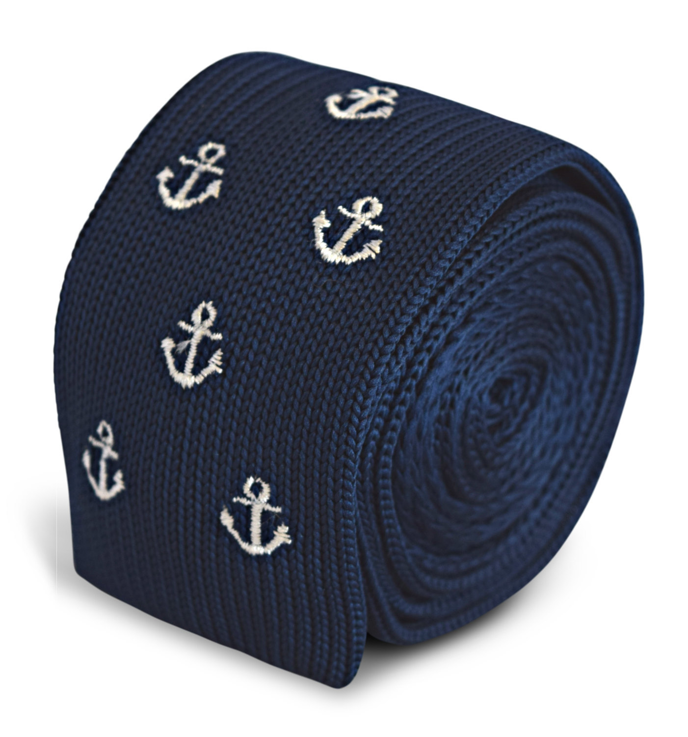 navy knitted skinny tie with anchor design by Frederick Thomas FT3296