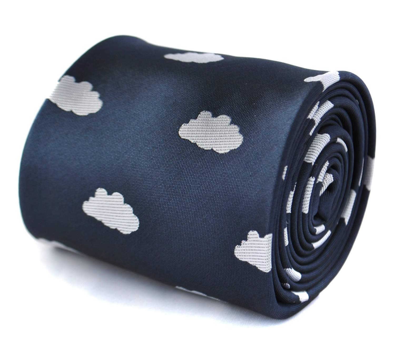 navy blue and white fluffy cloud embroidered design tie with signature floral de