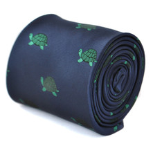 navy tie with green turtle design by Frederick Thomas FT1872