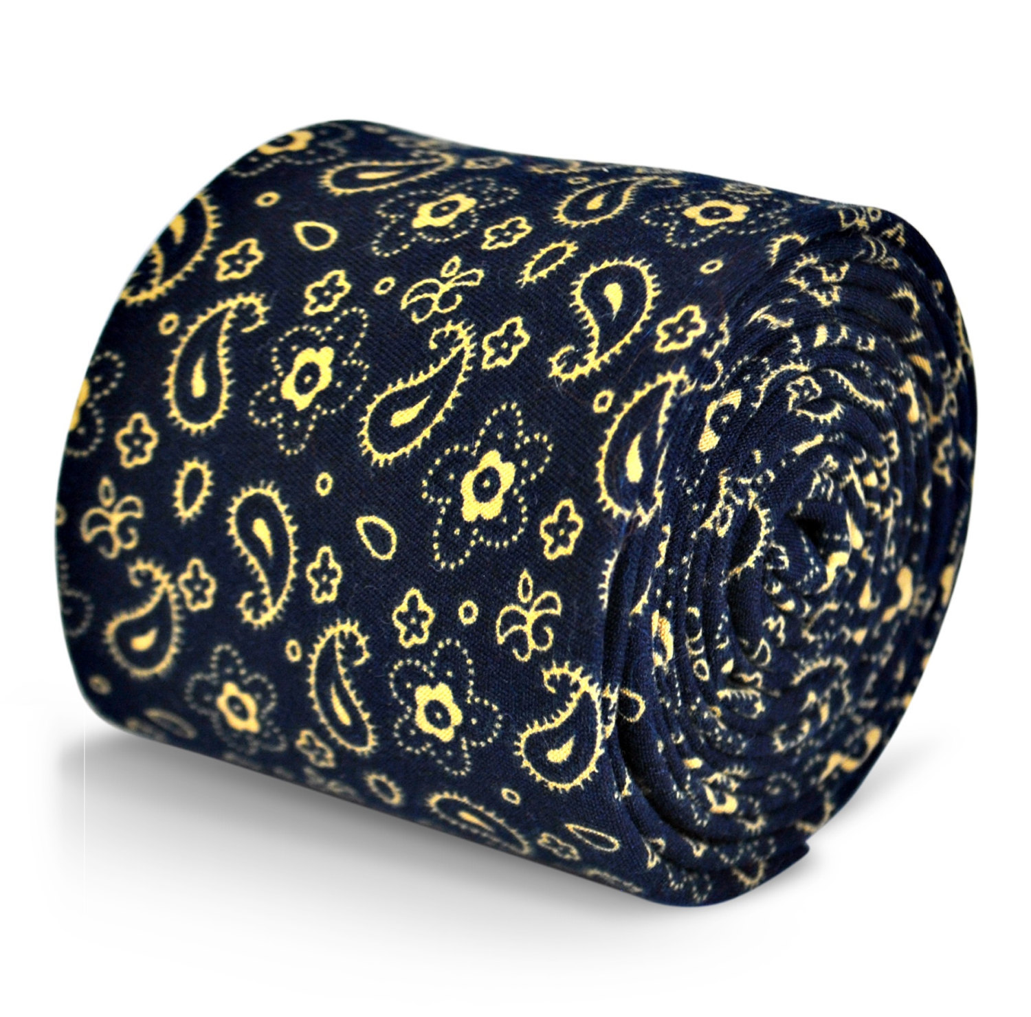 navy blue with paisley pattern cotton linen design tie by Frederick Thomas FT312