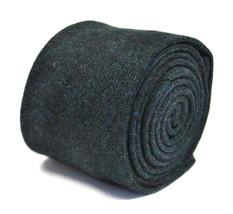 plain dark green 100% british manufactured wool tweed tie by Henry Harris HH107