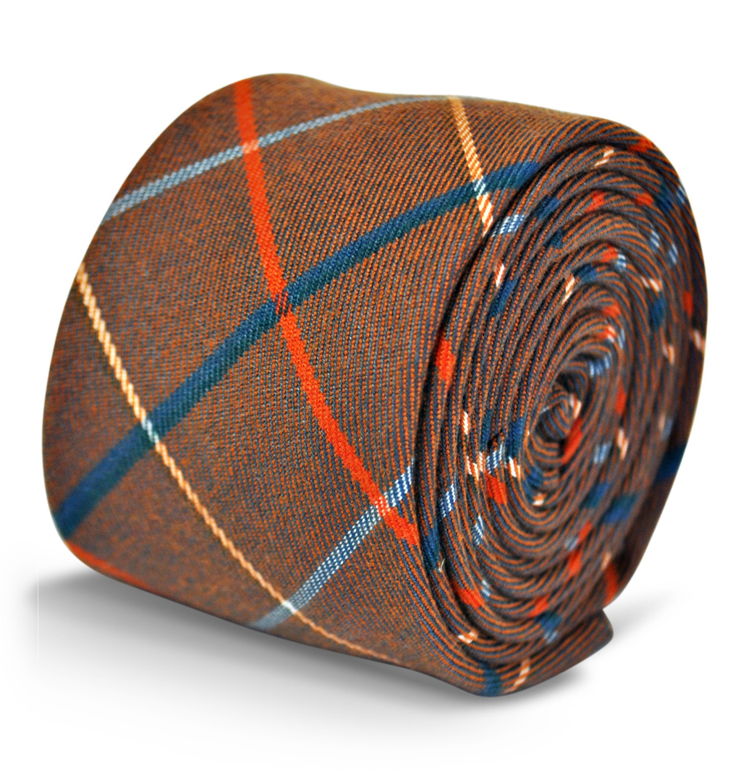 brown with red and blue check 100% wool tweed tie by Frederick Thomas FT3124