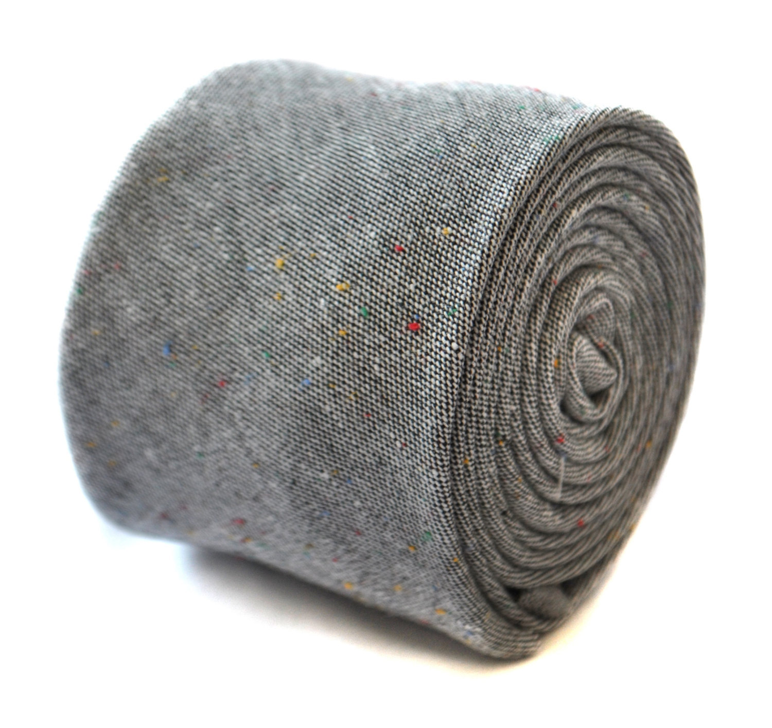 Frederick Thomas mens wool tweed tie in grey with multi coloured flecks FT3152