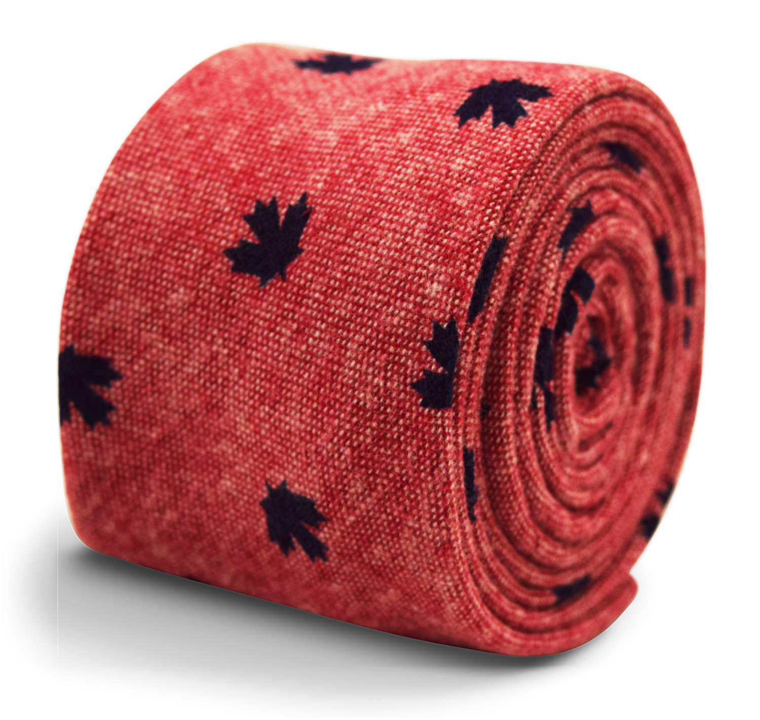 Frederick Thomas 100% cotton tie in dark pink with Canadian maple leaf pattern F