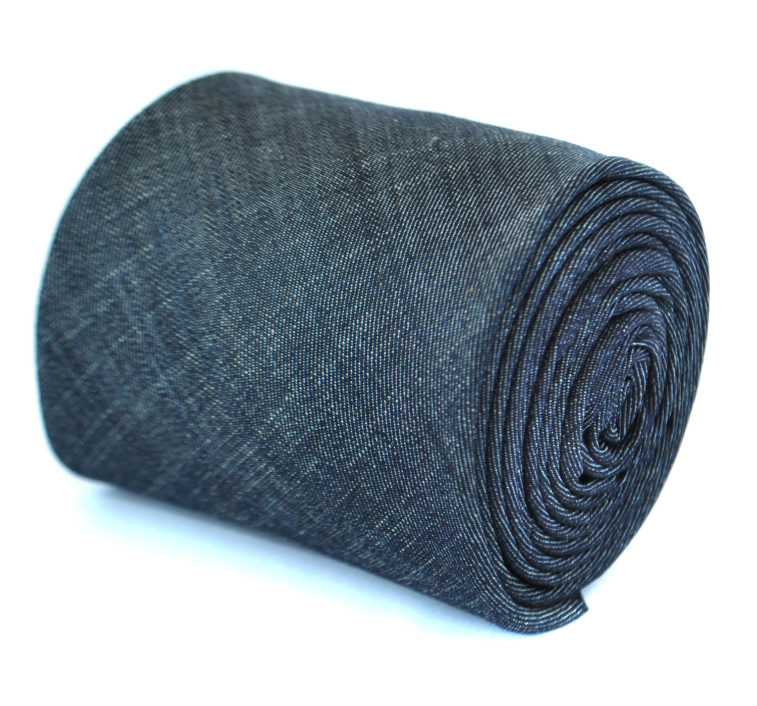 plain navy blue textured linen tie by Frederick Thomas FT1967