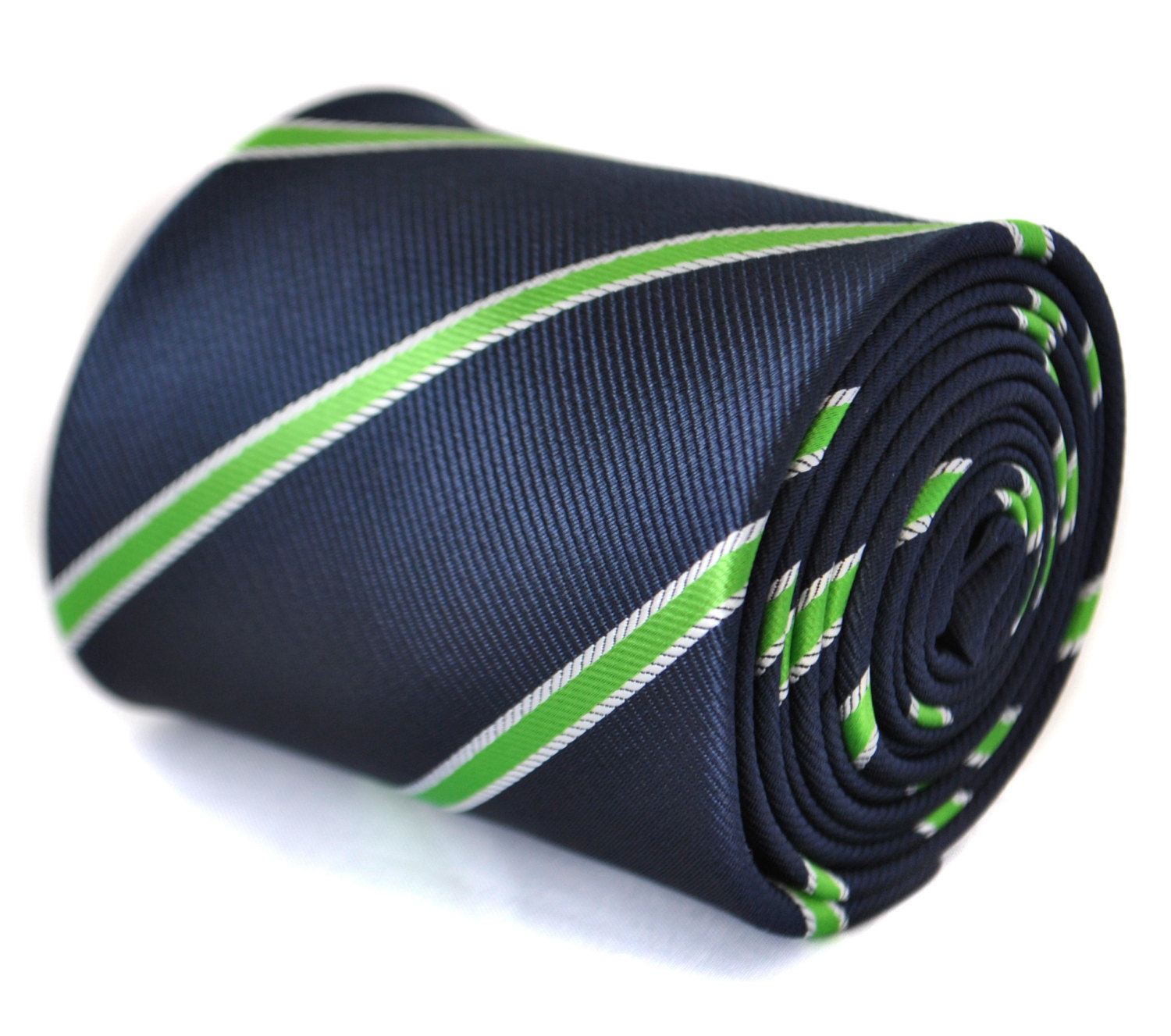 navy tie with green and white club stripes with signature floral design to rear