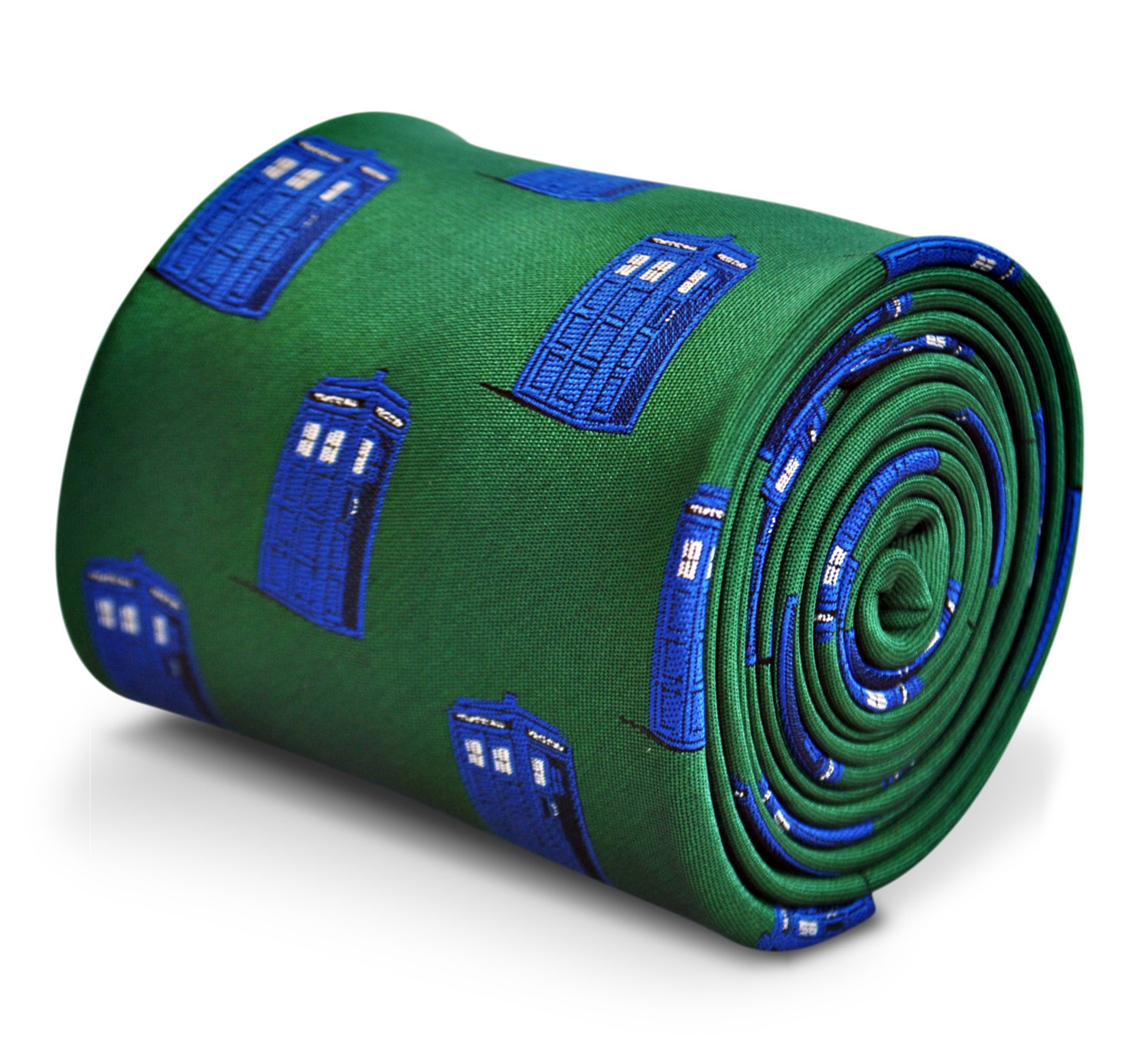 green tie with blue policeman tardis box embroidered design with signature flora
